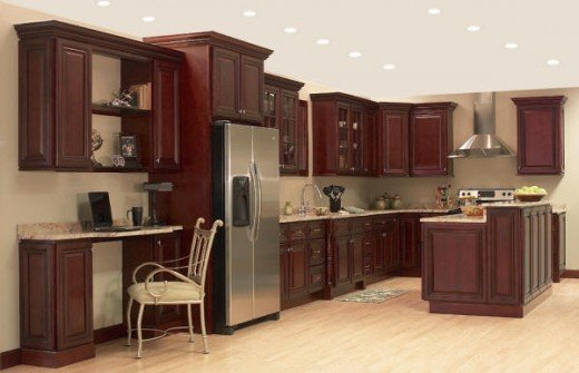 Exotic cherry cabinets