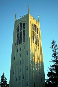 Burns Tower. Oldest chartered college in California.