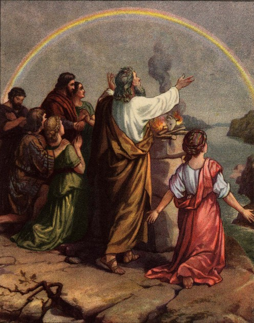 Noah renewing his covenant with the Lord.