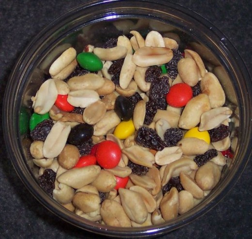 A common variety of Trail Mix made out of peanuts, raisins, and M&M's.  Photo source:  ImGz courtesy of Creative Commons Sharealike 3.0 License.