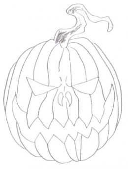 Drawing the shape of a pumpkin helps to define the whole design.