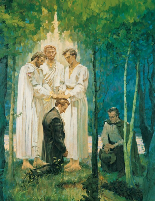 Sometime after John the Baptist gave them the Aaronic Priesthood, Joseph Smith and Oliver Cowdery were visited by the Apostles Peter, James, and John near the Susquehanna River in the state of Pennsylvania. The Apostles conferred upon Joseph and Oliv