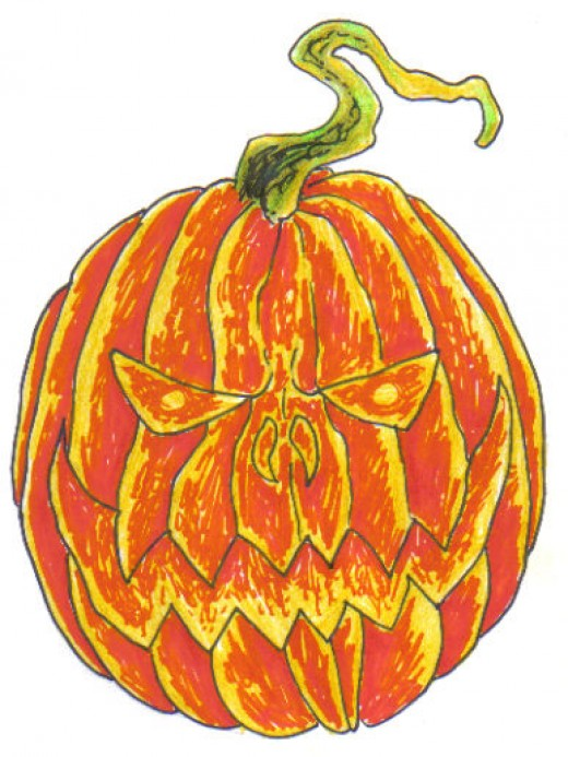 Halloween Pumpkin Coloured with Sharpies and Crayola Pencil Crayolas.