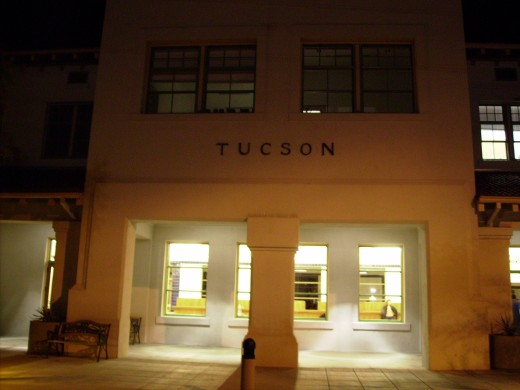 Amtrack Train Station in Tucson, AZ at night