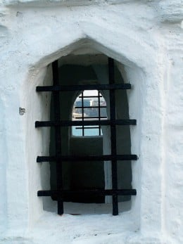 The Huer's Hut, Newquay. A side window, looking through the Huers Hut and out the other side.