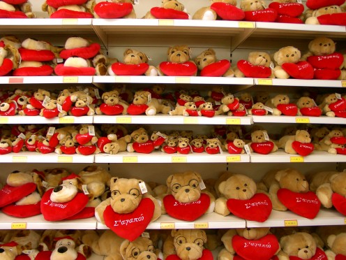 Seasonal items, like these Valentine's teddy bears, are common finds at dollar stores.