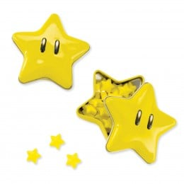 "Each Smiley yellow Mario Star is made of tin with sweet candy inside, measures 2.5"" in diameter."