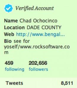 Chad Ochocinco's real twitter
