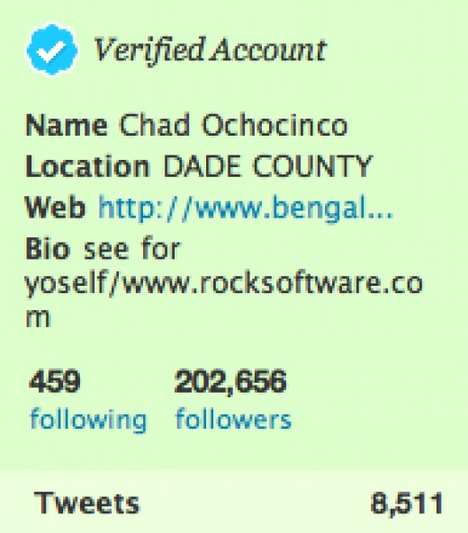 Chad Ochocinco's real twitter