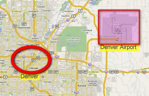Location of DIA relative to Downtown Denver.