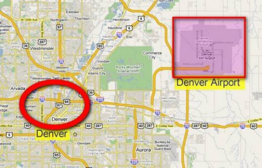 Location of DIA relative to Downtown Denver.