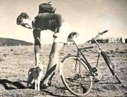 My friend Roy Joubert and I used to ride all over the place around mThatha in the old Transkei. Here he is with a lamb which befriended us on a long ride one day in about 1961