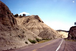 Road going through petrified sand dunes