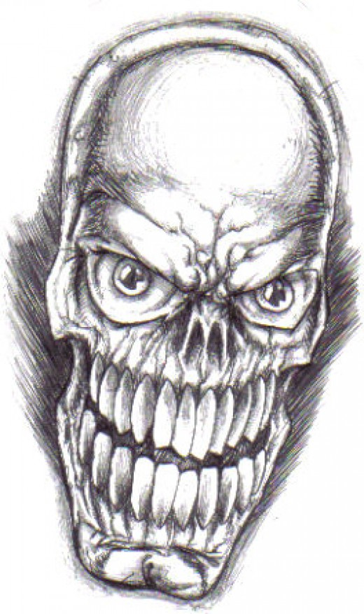 Skull Art Drawn With Biro Copyright Wayne Tully