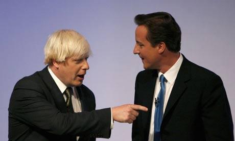 A slighlty miffed Boris Johnson (ex. Mayor of London, England, UK, Europe, The World) accusing debonair David Cameron, ex. Prime Minister of Great Britain and Northern Ireland of having scoffed all the pudding