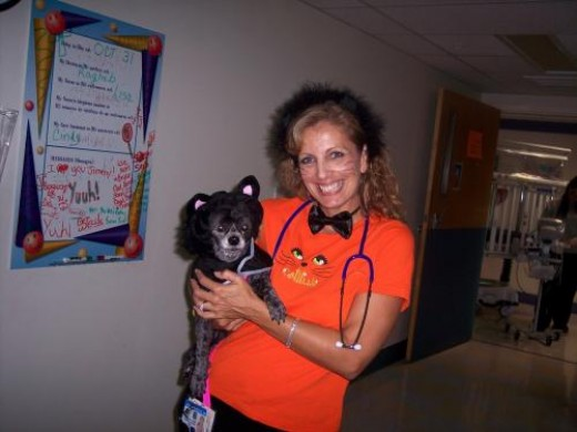 The pediatric nurse dressed for Halloween, as did the children on the Neurology ward.