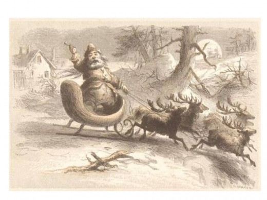 St Nicholas in 1809 as a chubby little man with a jolly smile, who was driven by a team of reindeer