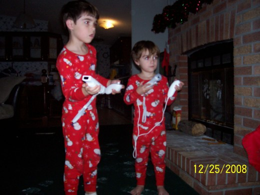 Jonathan and Tristan love their Wii games!