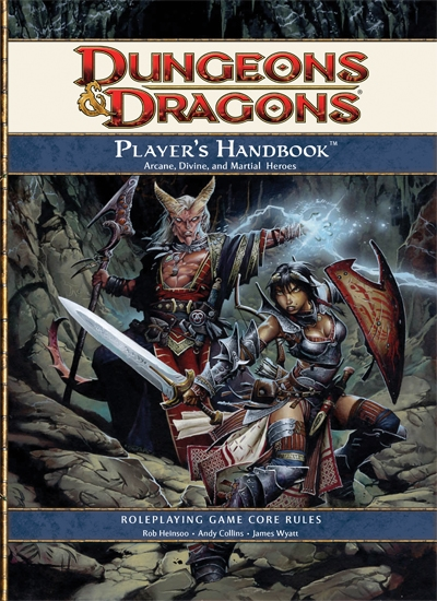 A rulebook from the latest edition of Dungeons & Dragons: 4.0 [also called 4e]