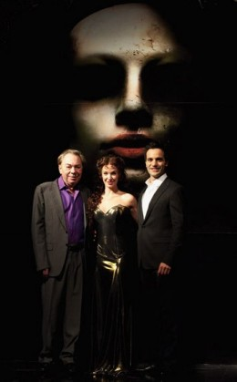 Ramin Karimloo plays the Phantom and Dierra Boggess plays the part of Christine Daa here seen alongside Andrew Lloyd Webber