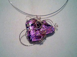 dichroic glass pendant in 14k white gold