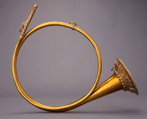 A lovely embellished natural hunting horn.
