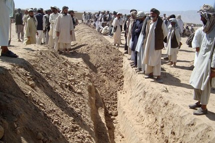 A mass grave for the victims of mass murder in Kunduz.