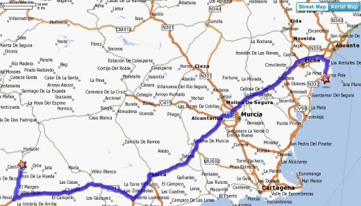 Our route from the Costa Blanca inland to Andalusia in Southern Spain