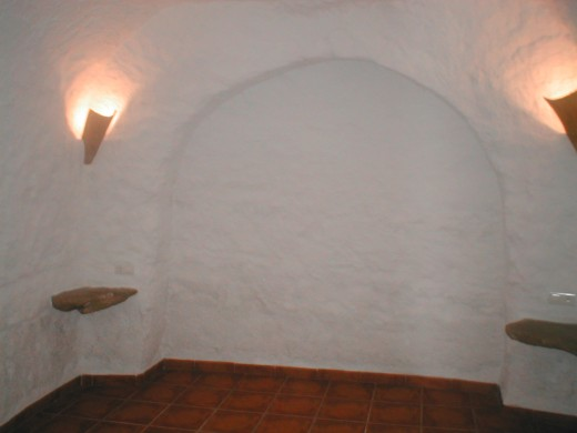 The bedroom in a cave house