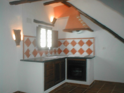 The kitchen in a cave house