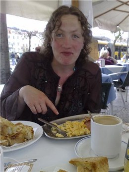 My friend, Amy. She was wearing white jeans. Had spotty underwear on - and dropped her toast onto her legs. I warned her ...