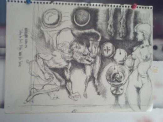 Circe, Pen & Ink Sketch, 1996; Richard Van Ingram