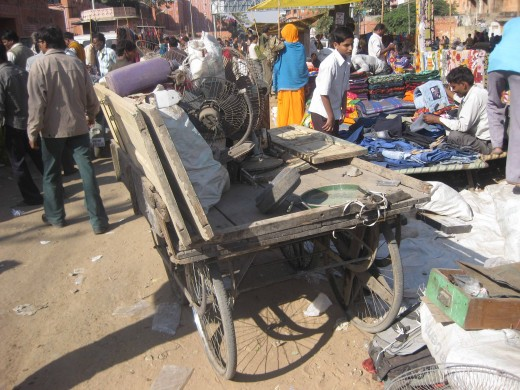 Collecting Solid Waste In a downtown Jaipur