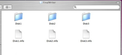 Figure 3, Each folder contains the files that were on the original three floppy disks.