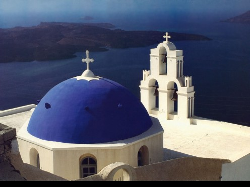 Complete History Of Greece - A Greek Orthadox Church on the Island of Santorini