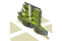 5. Model of Self-Sufficiency  Seattle-based architecture firm Mithun designed this vertical farm so that it would not require any water from municipalities and would also use photovoltaic cells to produce nearly 100% of the building's electricity.