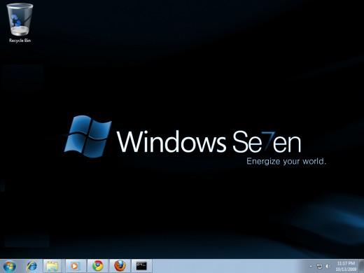 "Windows 7 Desktop appearance after hidden the folder ""Hide It"""