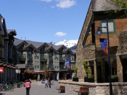 Whistler Village on a quiet, summer afternoon. Shopping is a favourite pastime for many visitors as well as fine dining Photo by C.Borthwick all rights reserved