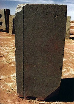 Pumapunku building block with precision-drilled groove(6 mm wide)and holes within
