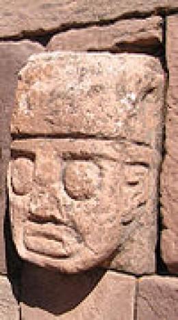Tenon head in the semi-subterranean temple at Tiwanaku