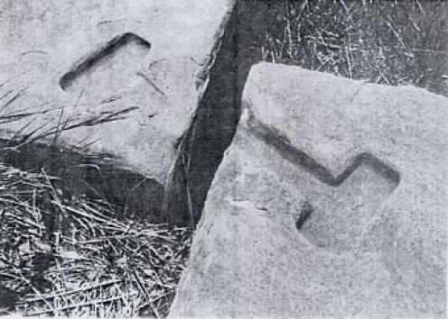Indentations for bronze cramps used at Pumapunku