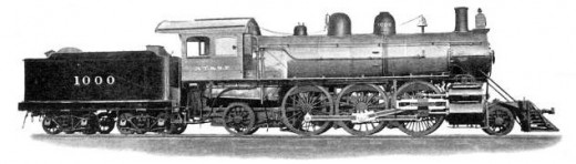 Builder's photo of Atchison, Topeka and Santa Fe Railway locomotive number 1000 in 1901(public domain).