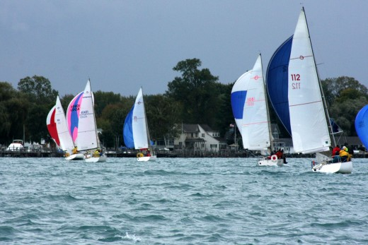 Another shot of the Express 27s sailing up the St. Clair River. Aren't they beautiful? BYC N. Channel Race 2009 deedsphoto