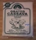 a bag of frozen grated cassava