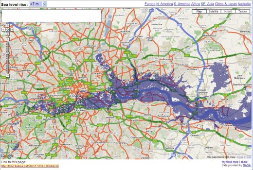 Sea Level Rises: London if sea levels rise by 7m