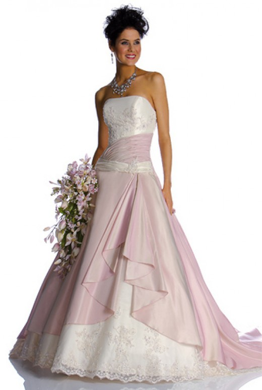 Wedding Dresses Pink Accents - Overlay Wedding Dresses