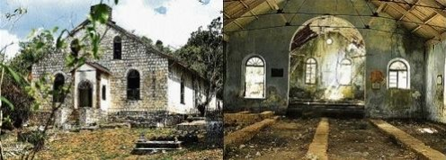 The exterior and interior of the church at Skull Point show how creepy the place is!