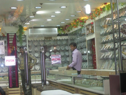 Jewelry shop at the time of closing on Dhan Teras