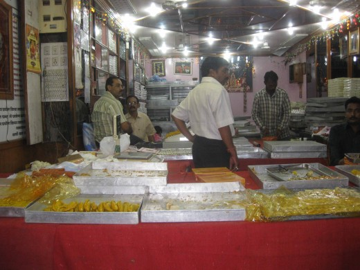 Sweet shop in Johri Bazar, inside view (While closing on Dhan Teras)