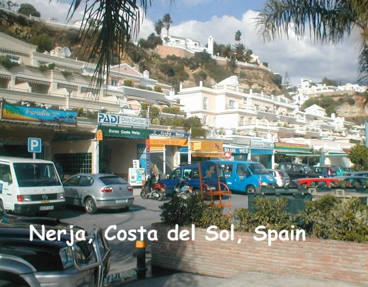 Patio dining in Nerja, Costa del Sol, Spain